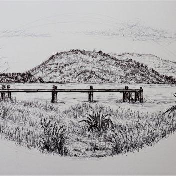 Rona Bay, Easbourne.  preliminary sketch