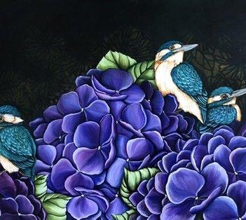 Kingfishers in the hydrangeas