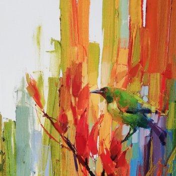 Bell bird on flax